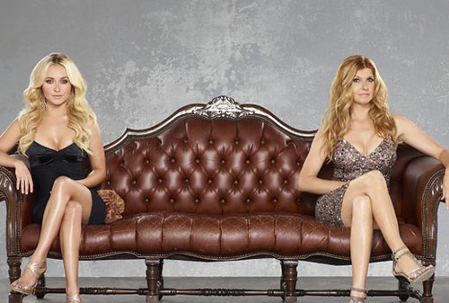 Connie Britton and Hayden Panetierre sitting on a couch