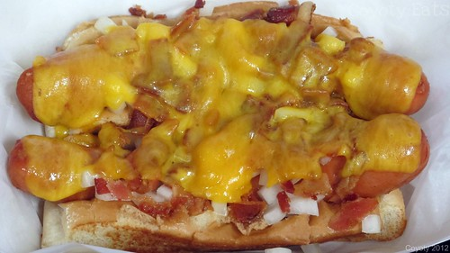 Bacon cheesedogs with onions by Coyoty