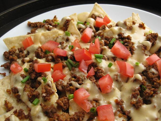 Homemade Nacho Cheese Sauce and Taco Seasoning-spiced Beef (aka The Taco Bell Nachos Supreme Copycat)