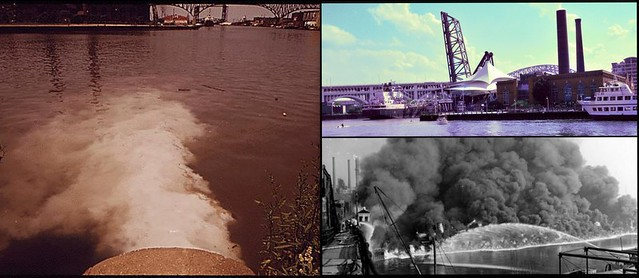 Celebrating the Clean Water Act. Photo Credits: City Pump Station Discharges Sewage into the Cuyahoga River, July, 1973 photo by Frank J. Aleksandrowicz for Documerica; Cuyahoga River Fire, 1952 Cleveland Press Collection; September 2012, Pete Cassell for State of the Environment.