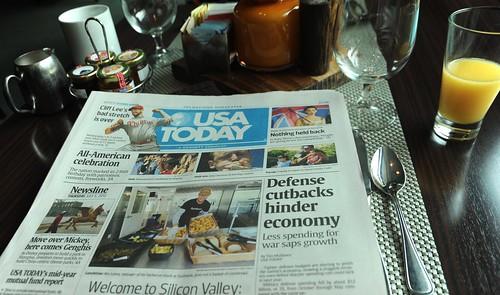 "Violence of Lies, warmongers: ""Defense cutbacks hinder economy, Less spending for war saps growth"", USA TODAY, evil, newspaper, breakfast, Hyatt Hotel, Schaumburg, Illinois, USA by Wonderlane"