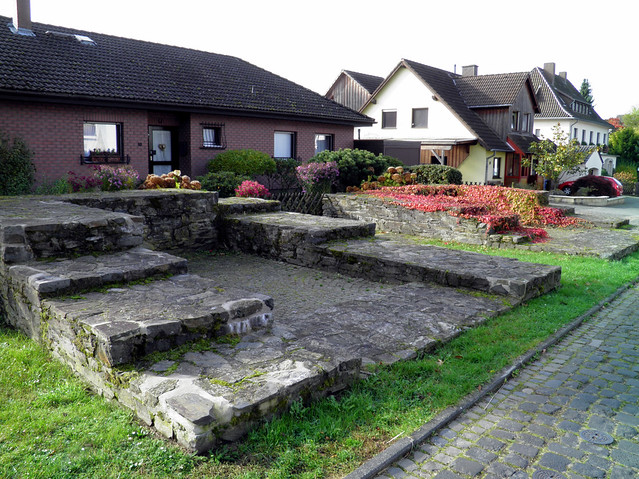 Preserved foundation walls of the northern access gate (Porta Praetoria) at Niederbieber fort, 2nd century AD