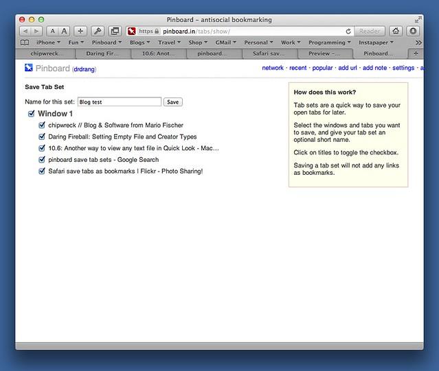 Saving browser tab sets - All this