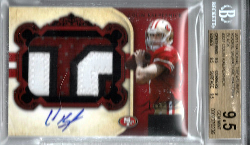 2011 Playoff National Treasures Rookie Signature Material Black #327 Colin Kaepernick (21 of 25) BGS 9.5