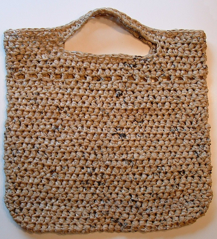 Free Crochet Patterns Plarn Bags : Plarn Picket Stitch Tote Bag My Recycled Bags.com