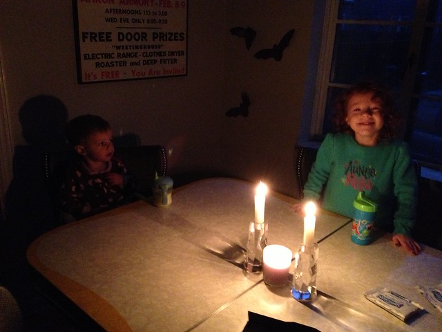 Breakfast by candlelight. Hopefully our power comes on again soon!