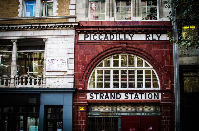 An abandoned tube station near Somserset House in London, England.