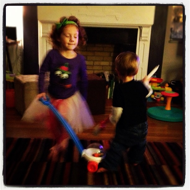 I was bummed that trick or treat wasn't tonight and then this happened and made everything better:  my children dancing w brooms stomp style to Call Me Maybe.