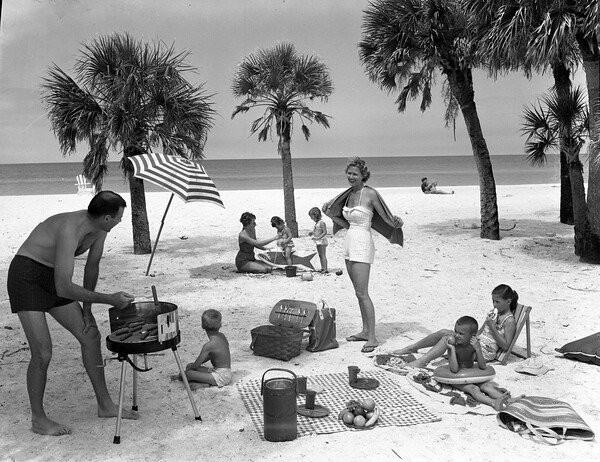 Swain family picnicking near the Colony Beach Club: Longboat Key, Florida