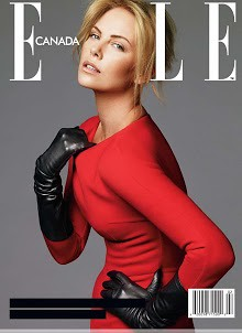 Charlize in Marilyn Monroe pose in red&black - cool look on Elle Posted TUE 9 OCT 2012