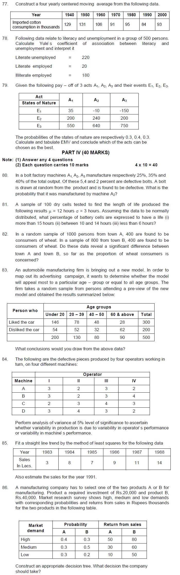 Tamil Nadu State Board Class 12 Model Question Paper - Statistics