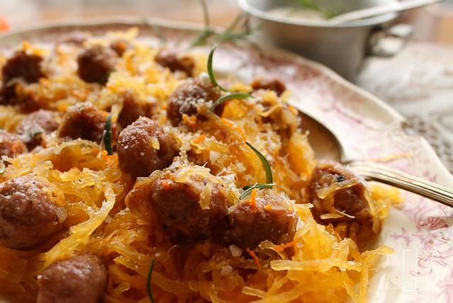 Courge spaghetti et boulettes
