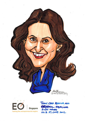 Bindu Maira caricature for EO Singapore