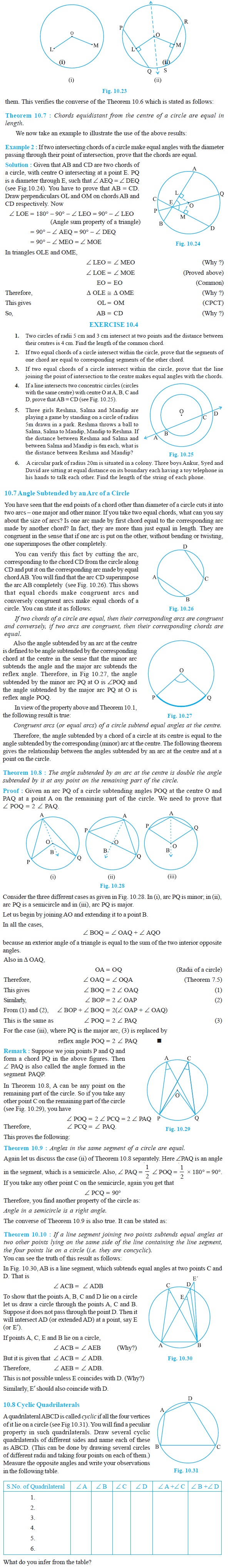 NCERT Class IX Maths Chapter 10 Circles