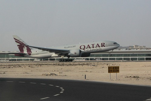 Qatar Cargo 777-F rego A7-BFA takes off from Doha