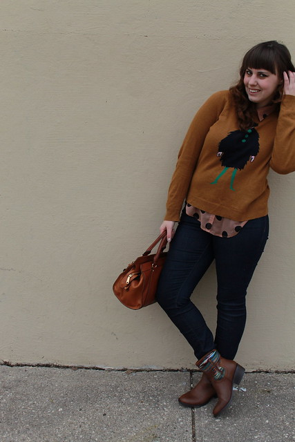 "Heavy Rotation outfit: Pilcro jeans, blanket ankle cowboy boots (caballero boots), sheet polka-dot button-down blouse, J.Crew ""La Parisienne"" intarsia sweater, Lauren by Ralph Lauren ""Winslow satchel"" bag"