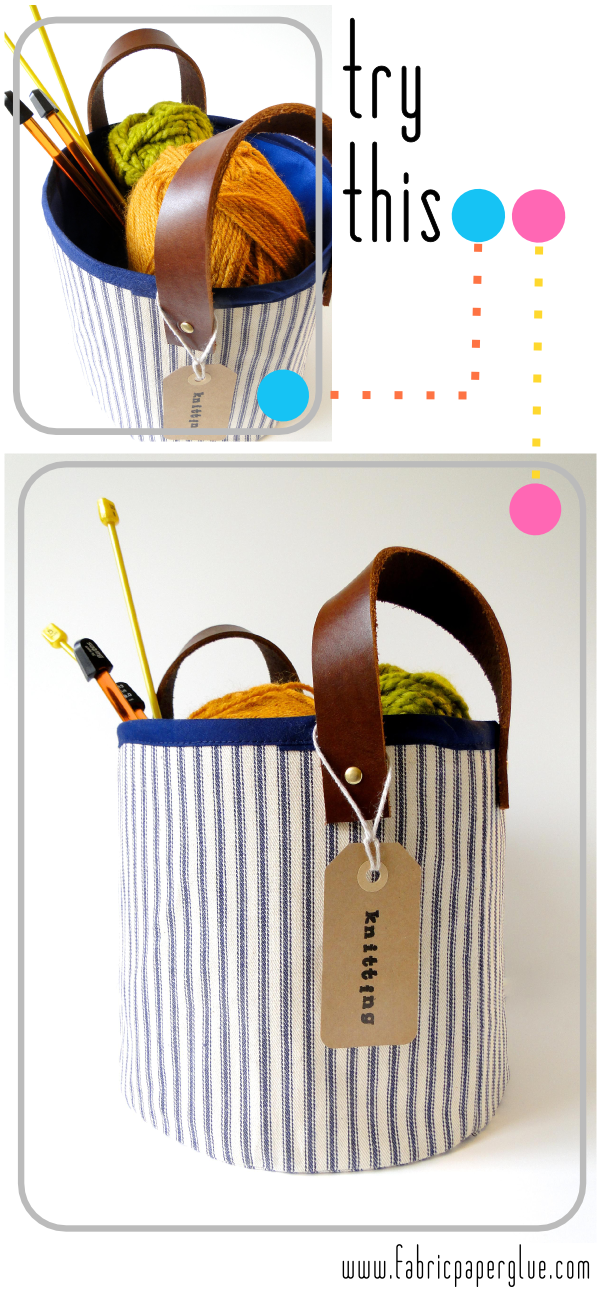 Fabric + Leather Project Baskets