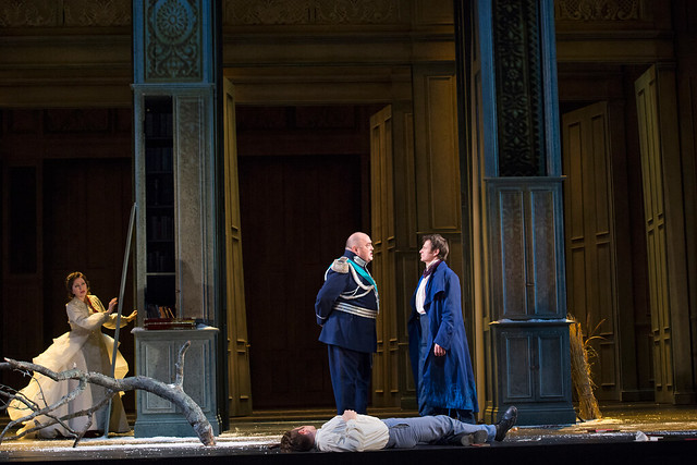 Krassimira Stoyanova as Tatyana, Simon Keenlyside as Eugene Onegin and Peter Rose as Prince Gremin in Eugene Onegin © ROH / Bill Cooper 2013
