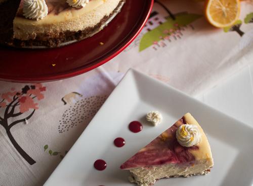 Meyer Lemon Raspberry Swirl Cheesecake