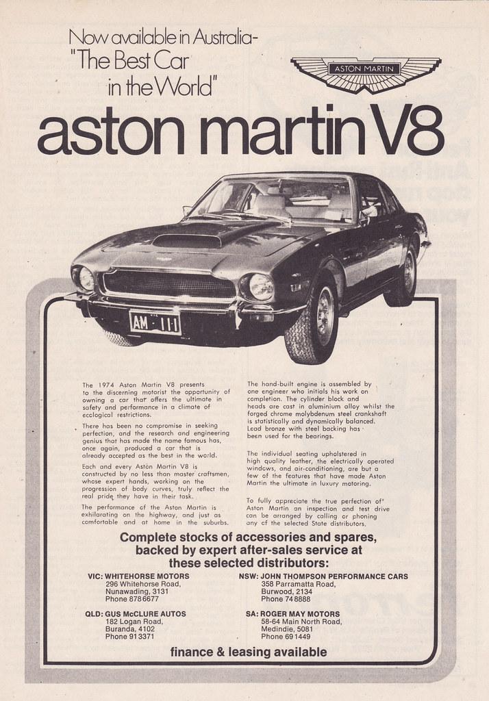 1974 aston martin v8 ad - australia | covers the 1974 aston … | flickr