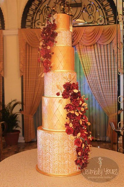 Graeme & Evelyn's Gold + Deep Red Roses Wedding Cake by Maia Camille Estigoy of Crumbly Yours
