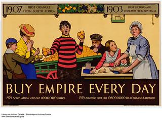 1907 First Oranges from South Africa, 1903 First Sultanas and Currants from Australia... / 1907 : premières oranges venues d'Afrique du Sud. 1903 : premiers raisins de Smyrne et de Corinthe venus d'Australie...