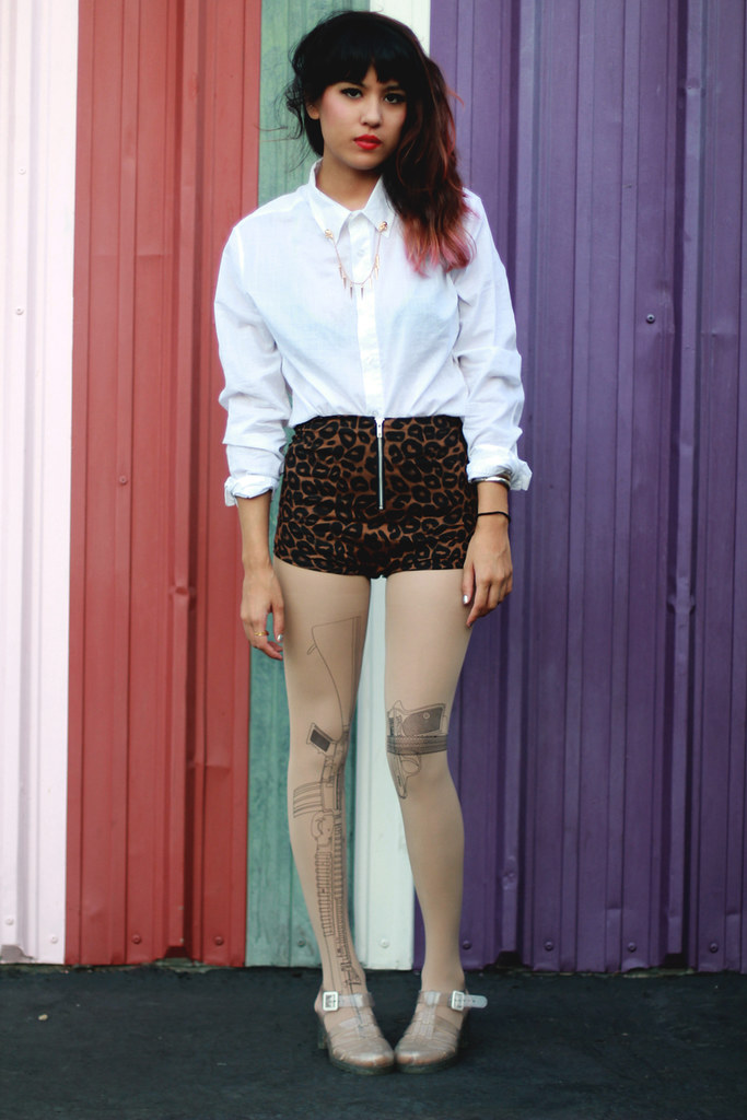 Tarte Machine Gun Tights and Skull Spike Collar chain at shoptarte.com, leopard hot shorts, white button-up, pink ombre hair