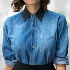 jeans(0.0), outerwear(0.0), pattern(1.0), denim(1.0), textile(1.0), clothing(1.0), collar(1.0), dress shirt(1.0), sleeve(1.0), cobalt blue(1.0), azure(1.0), pocket(1.0), shirt(1.0), blue(1.0),