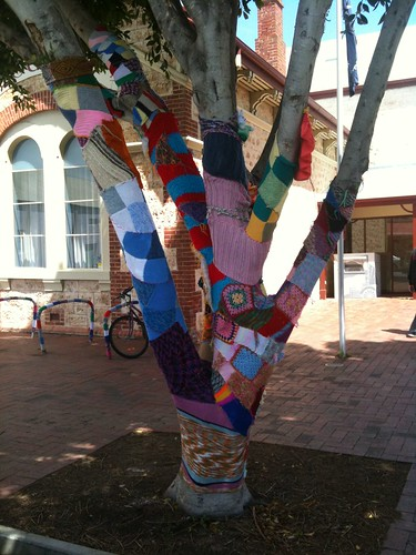 Yarn bombing at library