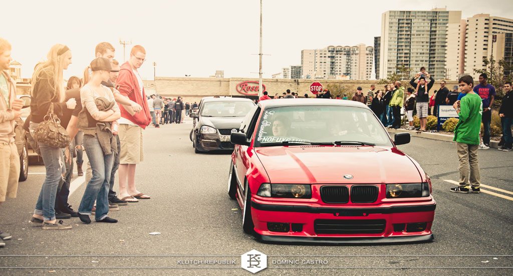 red bmw e36 at h2oI 2012 3pc wheels static airride low slammed coilovers stance stanced hellaflush poke tuck negative postive camber fitment fitted tire stretch laid out hard parked seen on klutch republik
