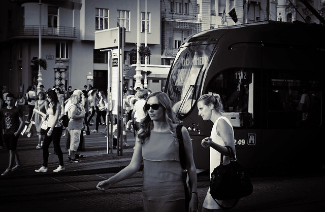 Tram & women in Zagreb - Croatia