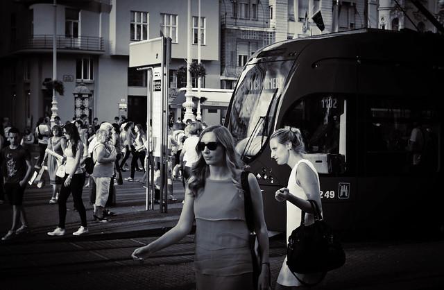 Tram & women in Zagreb - Croatia