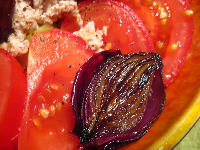 tomato, roasted onion, corn, tuna salad