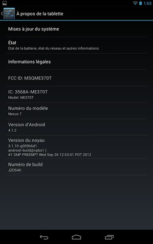 Nexus 7 passage à Android 4.1.2