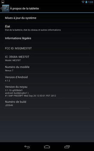 Nexus 7 passage à Android 4.1.2