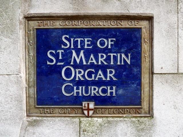 St. Martin Orgar, London blue plaque - Site of St. Martin Orgar Church