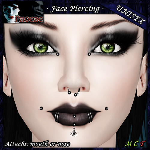 P Unisex Facial Piercing ~The Spider~