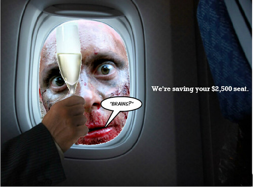 Zombie looking for a meal among First Class Air Passengers