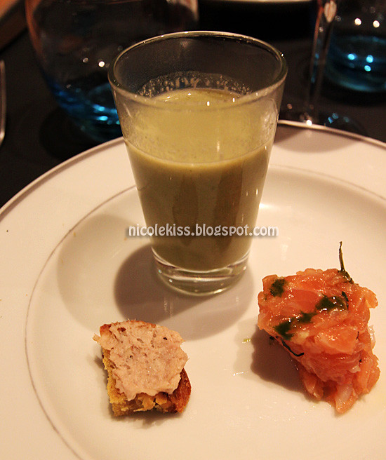 pea soup and salmon tartar