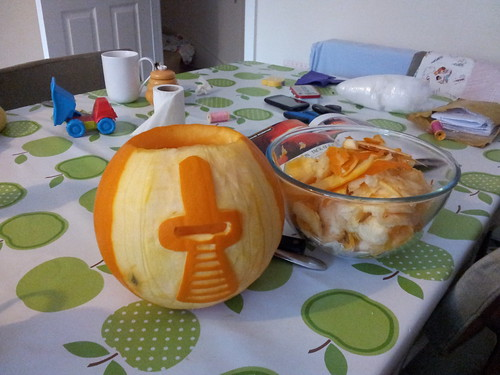 Carving cylon pumpkin