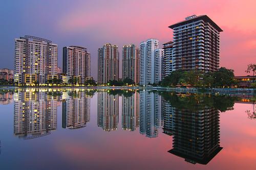 sunset lake reflection hotel haze apartment malaysia selangor subangjaya klangvalley nabilishes nabilza subangrialakewaterfront holidayviillasubang