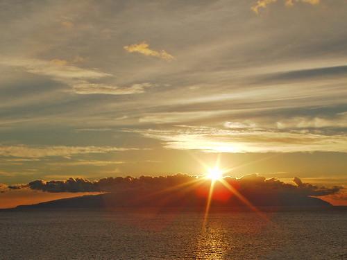Sunset behind La Gomera from Playa de la Arena, Tenerife