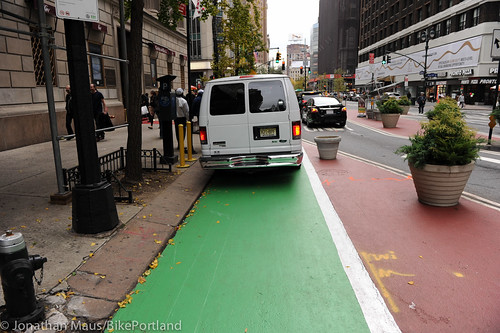Broadway protected bike lane and plazas-38