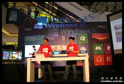 Danny Ong (Chief Marketing & Operations Officer) and Tenh Shiao Peng (Technologist Strategist - Enterprise & Partner Group) demonstration Windows 8 during the launch and showcase all the upcoming devices with Microsoft Windows 8!