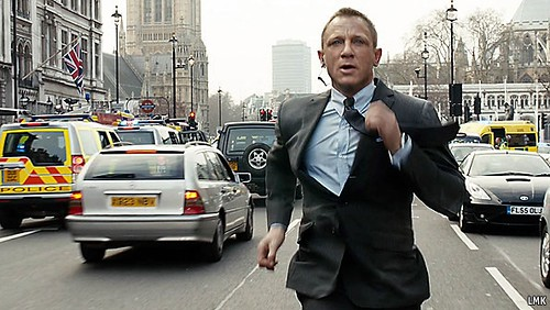 James Bond runs along Parliament Street