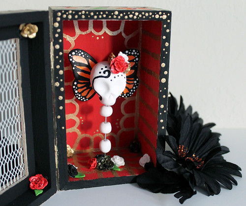 handmade dia de los muertos shrine skull and butterfly by vitamini