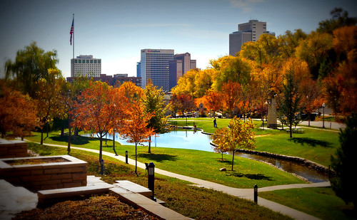 park autumn usa tree fall leaves skyline buildings landscape utah ut downtown saltlakecity 2012 lomoish memorygrove memorialgrove saltlakecounty