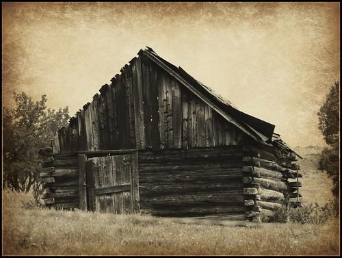 abandoned sepia barn rural colorado decay enhanced logbuilding logbarn collbran