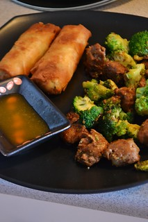 Spring Rolls with Plum Sauce and Teriyaki Broccoli and Soy Tips