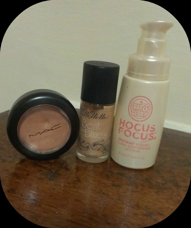 Picture of Favourite Highlighters MAC Cream Colour Base, MeMeMe Beat the Blues and Soap and Glory Hocus Focus